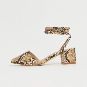 Snake skin strappy/lace up block heel shoe